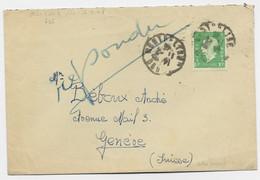 DULAC 10FR SEUL LETTRE COVER MONTBELIARD 11.2.1946 DOUBS  POUR SUISSE AU TARIF - 1944-45 Marianna Di Dulac