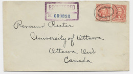 USA 6CX2 LETTRE REGISTERED BROOKLYN 1936 TO CANADA - Briefe U. Dokumente