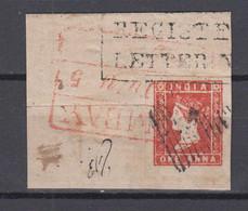 India 1854 Mi# 5 Used 1 ANNA On Fragment Of Registered Letter Very Good Margins - 1854 Britische Indien-Kompanie