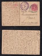India 1915 Stationery Postcard Censor BOMBAY PALBHAT To BASEL Switzerland - 1911-35  George V