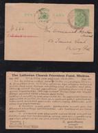 India 1930 Reply Stationery Postcard Private Imprint LUTHERAN CHURCH MADRAS - 1911-35  George V