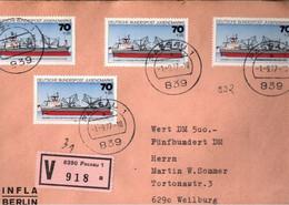 ! 1977 Bundespost Jugendmarken Schiffe, Mehrfachfrankatur 70 Pfg. Sturmfels Auf Wertbrief Aus Passau N. Weilburg - Brieven En Documenten
