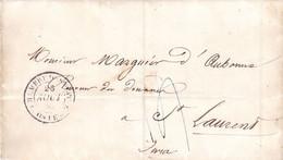LAC Administration Des Douanes Paris Pour St Laurent Jura 1842 Tàd Chambre Des Députés Taxe 15 Bleue - 1801-1848: Précurseurs XIX