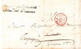 LSC Administration Des Douanes Paris Pour Céret Réexpédiée à Perpignan 1845 Tàd Franchise Rouge RP 2077 - 1801-1848: Précurseurs XIX
