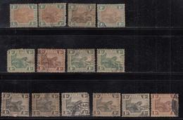 1c Federated Malay States Used, 1900, 1904, 1922 FMA, Shade Varities, Mixed Wmk, Tiger, Animal Malaya / Malaysia - Federated Malay States