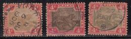 4c X 3 Diff., Shades,  Federated Malay States Used 1900, Wmk Crown CA, Tiger, Animal, Malaya / Malaysia - Federated Malay States