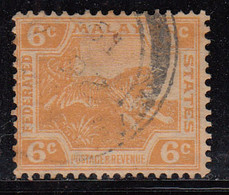 6c  Federated Malay States Used 1904, Wmk Multi Crown CA, Tiger, Animal, Malaya / Malaysia - Federated Malay States