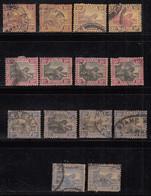 10c Shades Varities, Federated Malay States Used,  1900, 1904, 1922, Wmk Not Checked, Tiger, Animal, Malaya / Malaysia - Federated Malay States