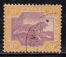30c Used Federated Malay States, Wmk  Multi Script Tiger, Animal, Malaya / Malaysia - Federated Malay States