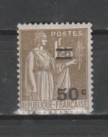 FRANCE / 1934 / Y&T N° 298 ** : Paix Surchargé 50c Sur 1F25 X 1 - Neufs