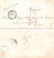 LSC Inspection Des Douanes Paris Pour Soissons 1844? Taxe 4 Bleue Refusée Biffée En Rouge - 1801-1848: Précurseurs XIX