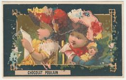 CHROMO Chocolat POULAIN  FILLETTES POUPEE LECTURE Fable Au Verso  Le Miroir Et La Vérité Florian - Poulain