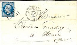 1862- Lettre De LE VEURDRE ( Allier ) Cad T22 Affr. N°14 Oblit. Pc 3547 - 1849-1876: Classic Period