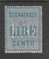 REGNO:  1903  TASSE  CIFRA  IN  BIANCO  -  £. 100  AZZURRO  L. -  SASS. 32 - Portomarken