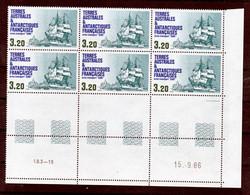 TAAF 129 Aviso Bloc De 6 Avec Rotative Coin Daté 15 9 1986 Fauneneuf ** MNH Sin Charmela - Neufs
