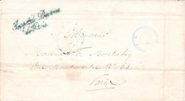LSC Inspection Des Douanes Paris Pour Paris Marque Bleue 1843 Et Timbre Bleu Circulaire 6e Dist 6h S (RP 2507) Port Dû - 1801-1848: Précurseurs XIX
