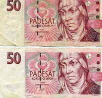 2 Billets, République Tchèque, 50 Korun, 1997 - Tschechien