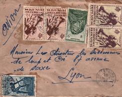 LETTRE AEF / PAR AVION / JOLI AFFRANCHISSEMENT - DEPART PORT ETIENNE POUR LYON / MAURITANIE 1949 - Lettres & Documents