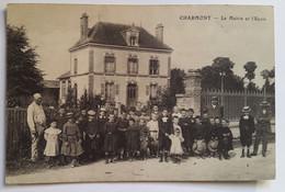 Carte Postale Charmont La Mairie Et L'école Animée 1913 - Andere Gemeenten