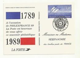 PSEUDO ENTIER  BICENTENAIRE DE LA REVOLUTION  OBLITERE  14 JUILLET 1989 PHILEXFRANCE - Pseudo-entiers Officiels