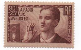 France - 1938 - N++ - Radio Aux Aveugles  90 + 25 Cts Brun  -Yvert N° 418    Bon état - Neufs