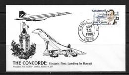 HAWAI-PINEAPPLE POST 1986 FDC CONCORDE ATTERRISSAGE A HAWAI - Hawaii