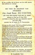 DE COSTER Jan Jozef René  ° Gheel 1925 + 1945 Kasterlee - Religion & Esotericism