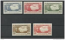"""Cote Ivoire Aerien YT 1 à 5 (PA) """" Série Complète """" 1940 Neuf** - Neufs"""