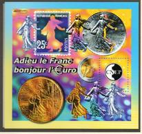 Bloc Feuillet CNEP Salon Philatélique  Adieu Le Franc Bonjour L'Euro Paris- 2002 - CNEP