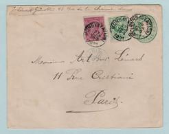 Zeer  Mooi Document, Koning Leopold I, Nr. 46, Met Indrukzegel, Mons Naar Parijs, Speciale Stempel (blauw) Parijs - 1884-1891 Léopold II