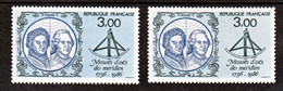 France 2428b Variété Bleu Très Pale Et Normal Mesure D'arc Méridien Neuf ** TB MNH Sin Charnela - Varietà: 1980-89 Nuovi