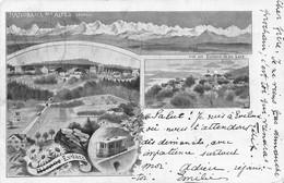 Litho: Bienne Evilard - Panorama Des Alpes - 1900 - BE Berne