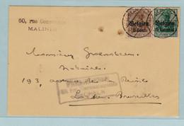 Reich, S.S., Malines, Mechelen , Speciale Rechthoekige Stempel Freigheben Mecheln. In 1916 - Entiers Postaux