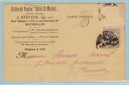 """Reich, S.S., Malines, Mechelen , 23.10.1918 , Salles De Ventes """" Hotel St.Michel"""" Brussel - Entiers Postaux"""
