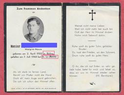Biding : Carte De Décès D'un Malgrè-Nous Lorrain Né à Biding - Tombé Le 7 Juil. 1944 Près De St Lo - 2 WK  Guerre 39-45 - Altri Comuni