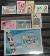 &166& MICHEL 1435/1441+BL 32, YVERT 1248/1254+BF 31 MNH**. SPORT,  OLYMPIC GAMES MEXICO 1968. - Neufs