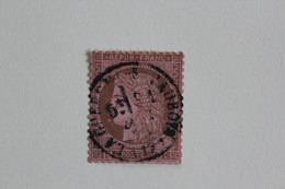 1871-75 CERES DENTELE Y&T NO 54 10 C BRUN / ROSE GROS CHIFFRES  CAD DE LA GUERCHE / L' AUBOIS (CHER) TB - 1871-1875 Cérès