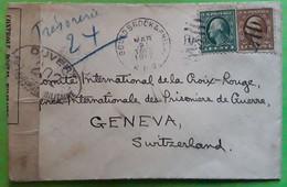 BOUND BROOK & PHILA NJ USA Cover, War CENSOR Contrôle Postal Militaire 202,1917 > Comité CROIX ROUGE GENEVE Prisonniers - Briefe U. Dokumente