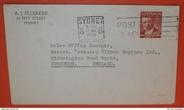 AUSTRALIEN 192 F. V. Mueller Botaniker -- Sydney 19.11.1948 -- Slogan: Post Early Each Day - Brief Cover (2 Foto)(38627) - Briefe U. Dokumente