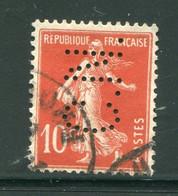 FRANCE- Perforé Y&T N°138- Oblitéré - Perforés