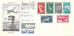 Israel R-letter FDC Of 1950 Set Bird Representation To New York (arrival Cancels And Lydda Aerodrome On Back) - Briefe U. Dokumente