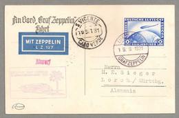 ZEPPELIN 2. Südamerikafahrt 1931 Abw. S. Vicente Deutsches Reich Sieger 129 Ab - Lettres & Documents