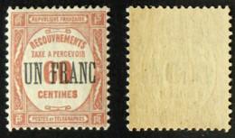 N° TAXE 63 UN FRANC Sur 60c ROUGE Neuf N** Cote 85€ - 1859-1955 Neufs