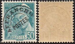 """France Mercure Préoblitéré N°  82 ** Le 50c Turquoise. Légende """"République Française"""" - 1938-42 Mercure"""