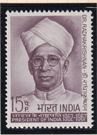 India: 1967   75th Birth Anniv Of Sarvepalli Radhakrishnan   MH - Ungebraucht