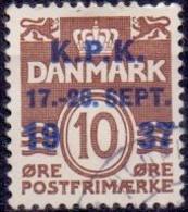 DENEMARKEN 1937 Opdruk K.P.K Op 10öre Golflijn GB-USED - Oblitérés