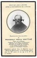 Image Mortuaire-décès : Houtkerque - Vichy - Abbé WATTHE Henry, Fondateur De La Maison De Missionnaire à Vichy - Obituary Notices