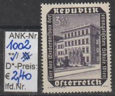 """1953 - ÖSTERREICH - SM """"Wiederaufbau D. Evang. Schule"""" 3S+75g Schwarzviolett - ** Postfrisch - S. Scan (1002    At) - 1945-60 Neufs"""