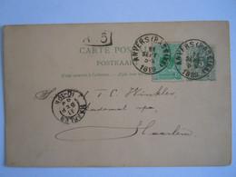 Belgique Entier Carte Briefkaart Liggende Leeuw Nr 19.A.I 1887 5c En OBP 45 Gelopen 1889 Anvers (Bassin) - Haarlem - Postcards [1871-09]