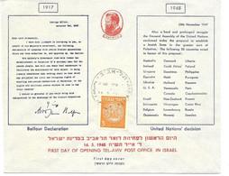 Israel 16.5.1948 Envelope FDC Imperf Stamp - Briefe U. Dokumente